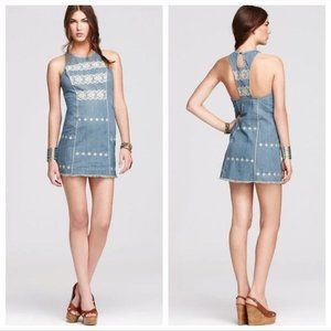 Free People Tribal Embroidered Chambray Dress Sz S